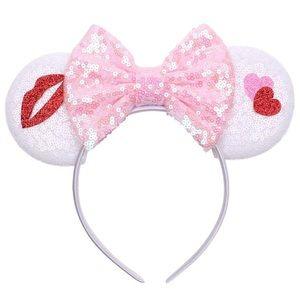 White Kiss Glitter Mouse Ear Bow Headbands
